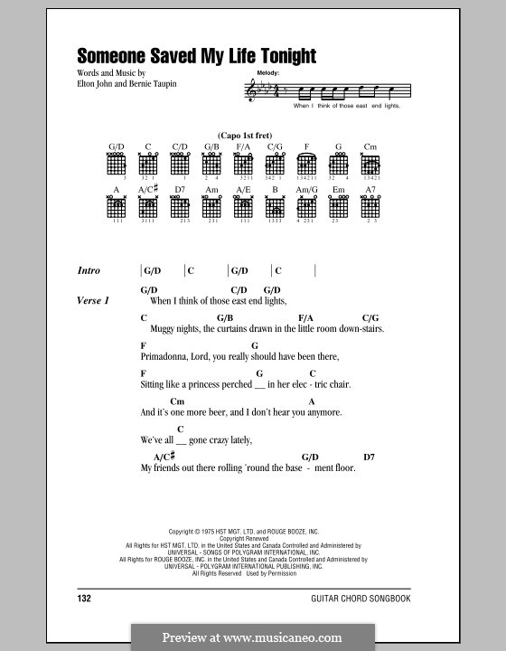 Someone Saved My Life Tonight: Lyrics and chords (with chord boxes) by Elton John