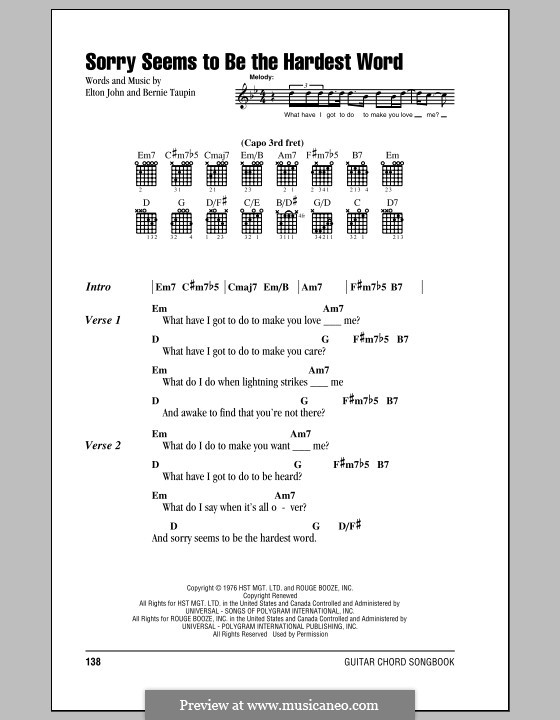 Sorry Seems to be the Hardest Word: Lyrics and chords (with chord boxes) by Elton John