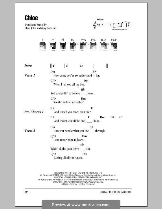 Chloe: Lyrics and chords (with chord boxes) by Elton John, Gary Osborne