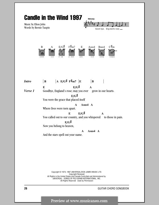 Candle in the Wind 1997 by E. John - sheet music on MusicaNeo