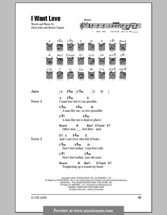 I Want Love: Lyrics and chords (with chord boxes) by Elton John
