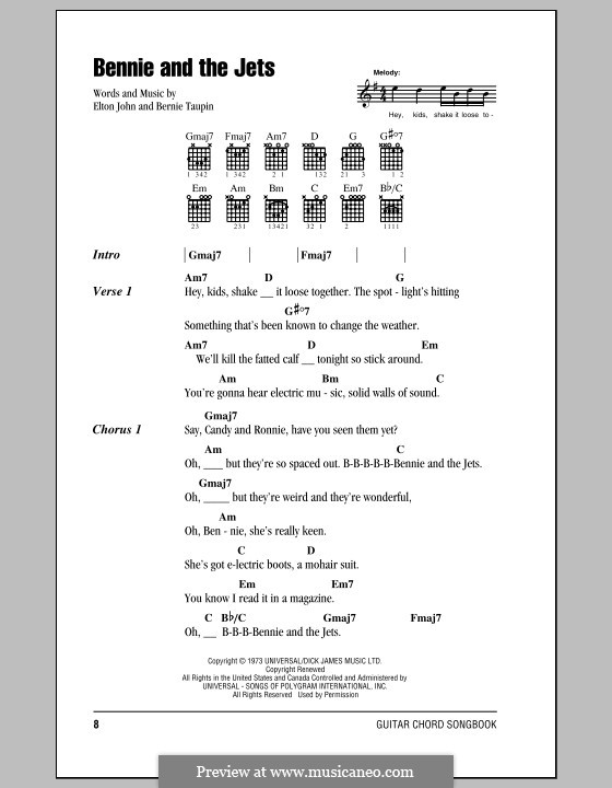 Bennie and the Jets: Lyrics and chords (with chord boxes) by Elton John