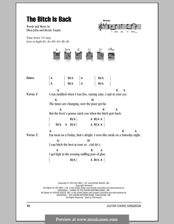 The Bitch Is Back (from Rocketman): Lyrics and chords (with chord boxes) by Elton John