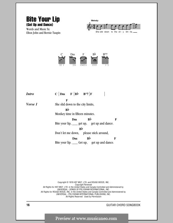 Bite Your Lip (Get Up and Dance): Lyrics and chords (with chord boxes) by Elton John