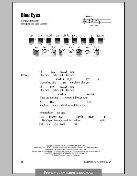 Blue Eyes: Lyrics and chords (with chord boxes) by Elton John, Gary Osborne