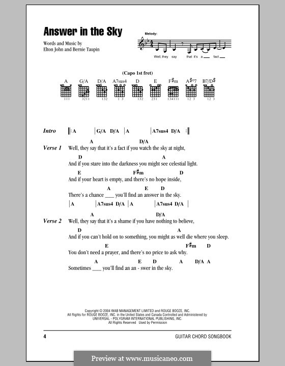 Answer in the Sky: Lyrics and chords (with chord boxes) by Elton John