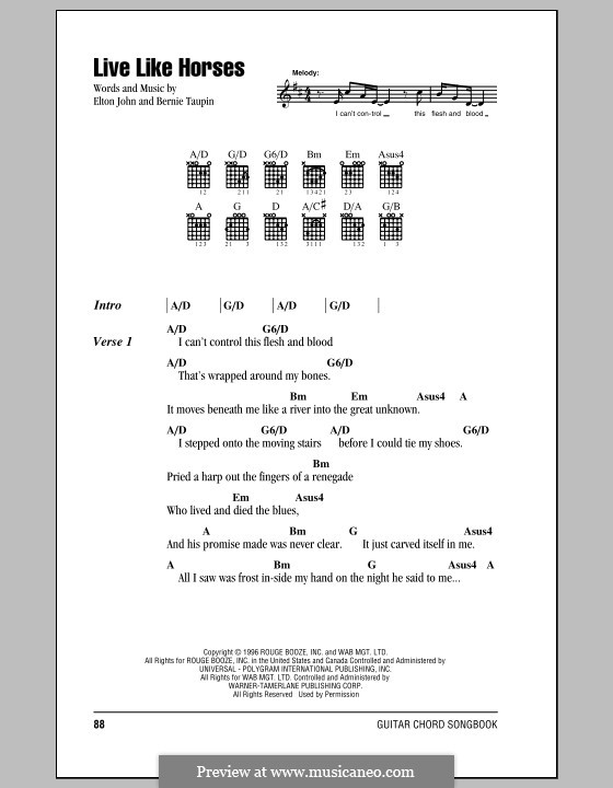 Live Like Horses: Lyrics and chords (with chord boxes) by Elton John
