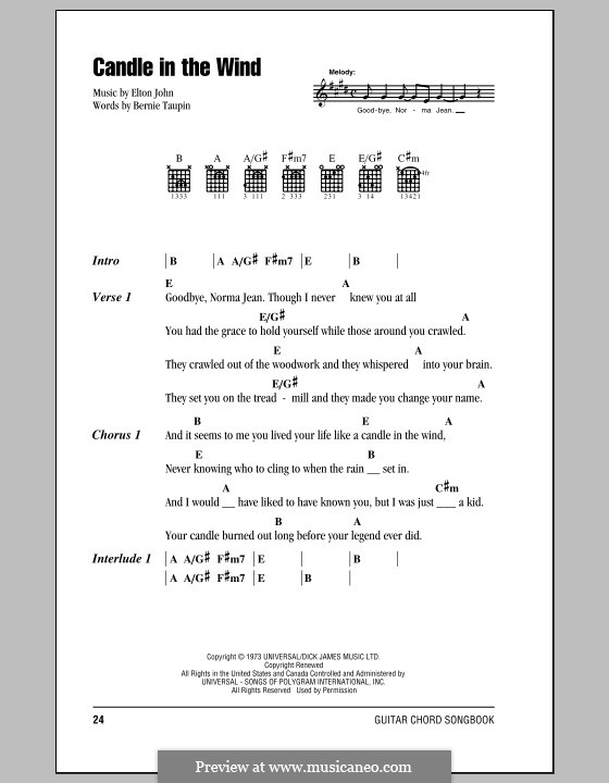 Candle in the Wind: Lyrics and chords (with chord boxes) by Elton John