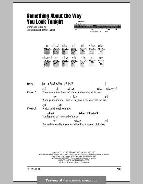 Something About the Way You Look Tonight: Lyrics and chords (with chord boxes) by Elton John