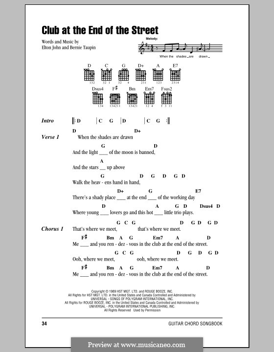 Club at the End of the Street: Lyrics and chords (with chord boxes) by Elton John