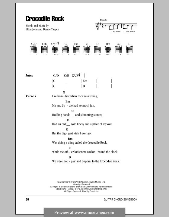 Crocodile Rock: Lyrics and chords (with chord boxes) by Elton John