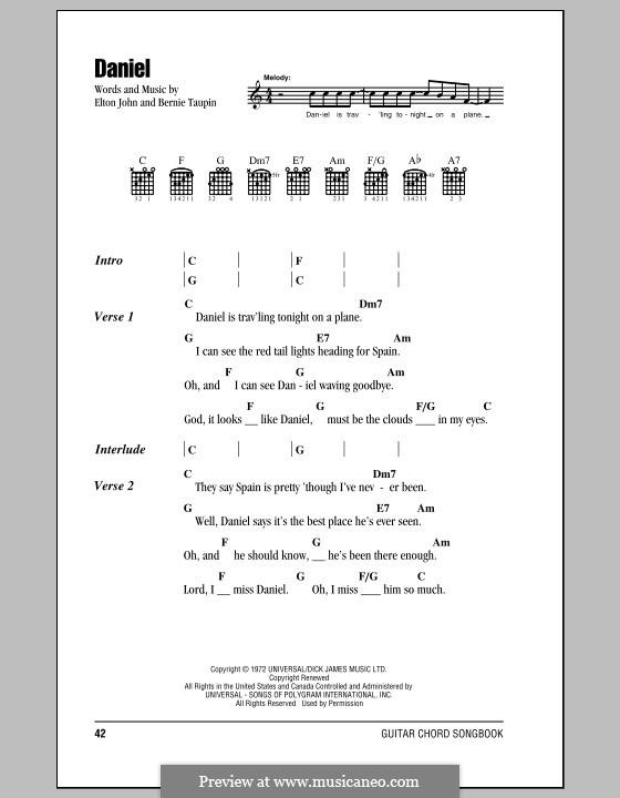 Daniel: Lyrics and chords by Elton John