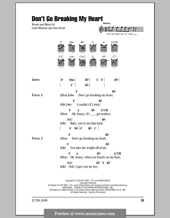 Don't Go Breaking My Heart (Elton John): Lyrics and chords with chord boxes by Ann Orson, Carte Blanche