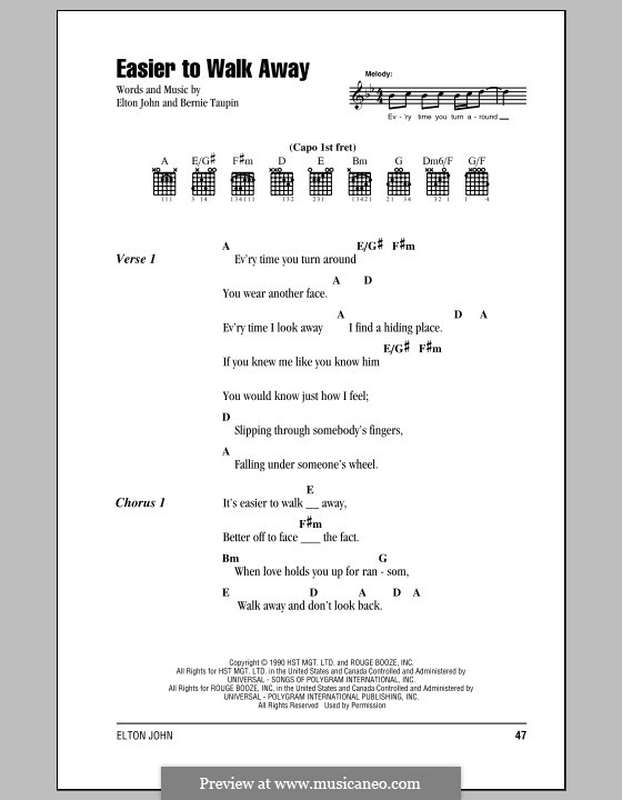 Easier to Walk Away: Lyrics and chords (with chord boxes) by Elton John
