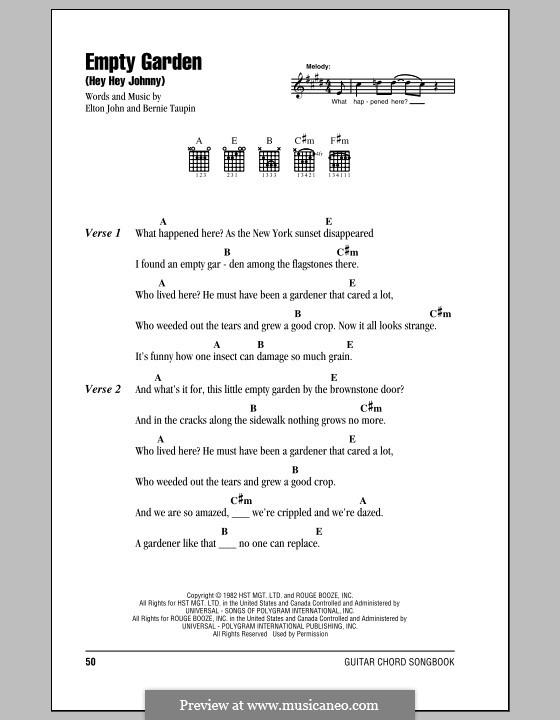 Empty Garden by E. John - sheet music on MusicaNeo