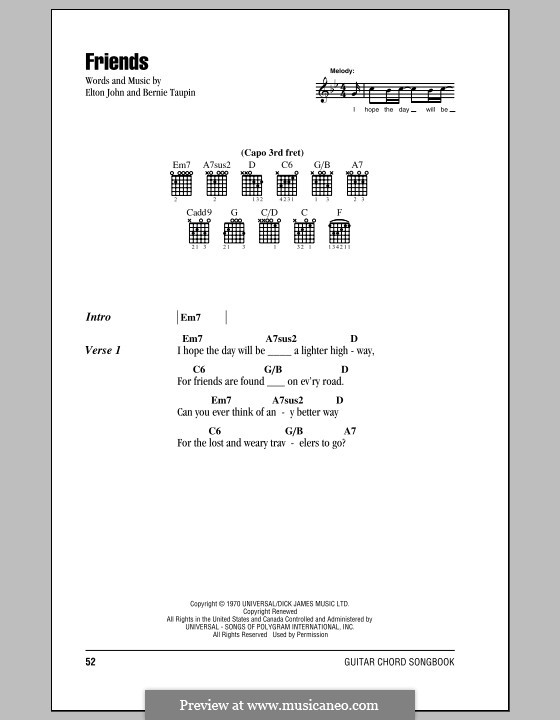 Friends: Lyrics and chords (with chord boxes) by Elton John