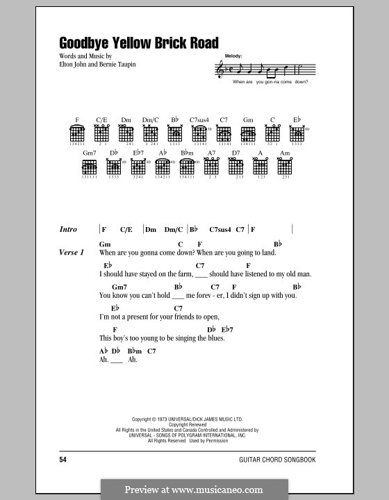 Goodbye Yellow Brick Road By E John Sheet Music On Musicaneo