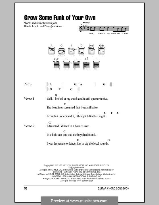 Grow Some Funk of Your Own: Lyrics and chords (with chord boxes) by Davey Johnstone, Elton John