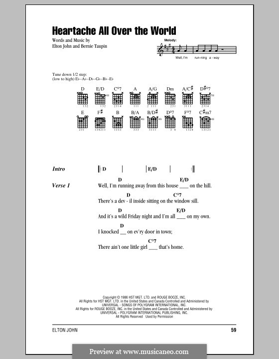 Heartache All Over the World: Lyrics and chords (with chord boxes) by Elton John