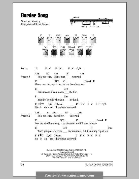 Border Song: Lyrics and chords (with chord boxes) by Elton John