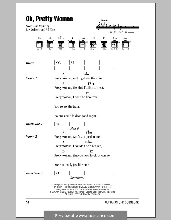 Oh, Pretty Woman: Lyrics and chords (with chord boxes) by Bill Dees, Roy Orbison