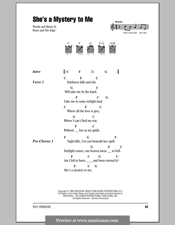 She's a Mystery to Me: Lyrics and chords (with chord boxes) by Bono, The Edge