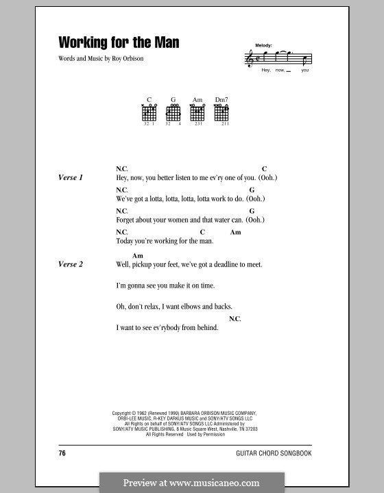 Working for the Man: Lyrics and chords (with chord boxes) by Roy Orbison