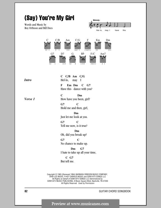 Say) You\'re My Girl by B. Dees - sheet music on MusicaNeo