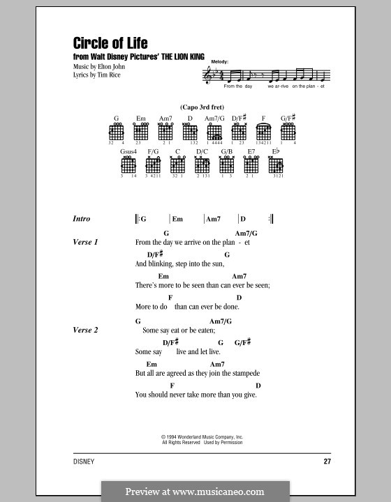 Circle of Life (from The Lion King), piano-vocal score: Lyrics and chords (with chord boxes) by Elton John