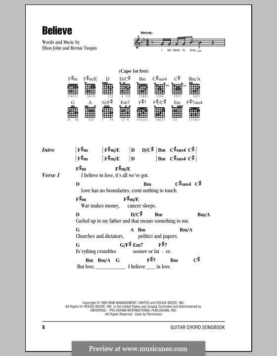 Believe: Lyrics and chords (with chord boxes) by Elton John