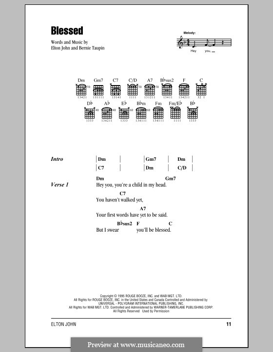 Blessed: Lyrics and chords (with chord boxes) by Elton John