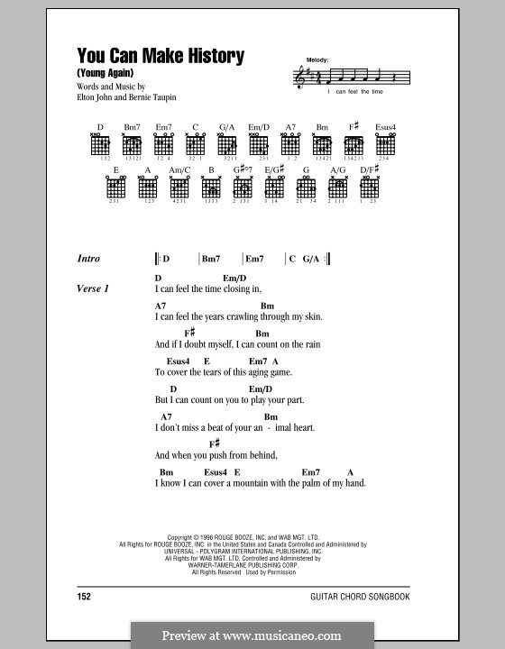 You Can Make History (Young Again): Lyrics and chords (with chord boxes) by Elton John