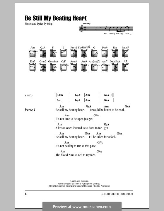 Be Still My Beating Heart: Lyrics and chords (with chord boxes) by Sting