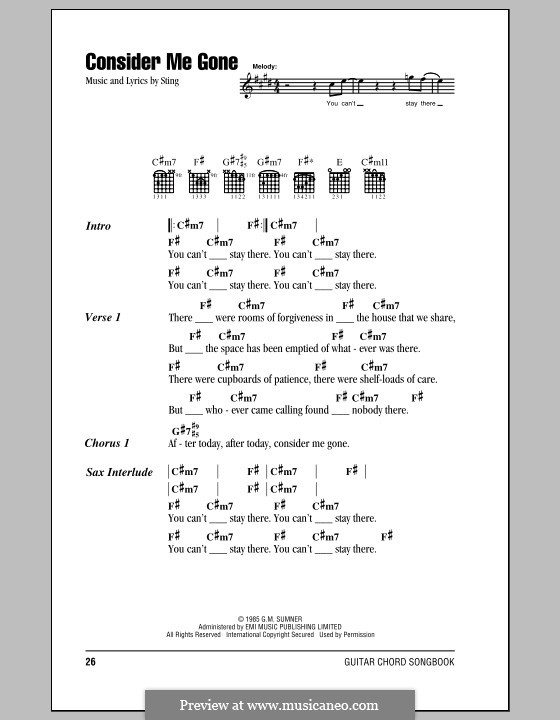 Consider Me Gone by Sting - sheet music on MusicaNeo