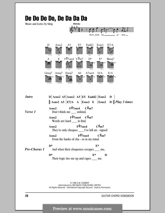 De Do Do Do, De Da Da Da (The Police): Lyrics and chords (with chord boxes) by Sting