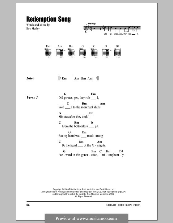 Redemption Song: Lyrics and chords (with chord boxes) by Bob Marley