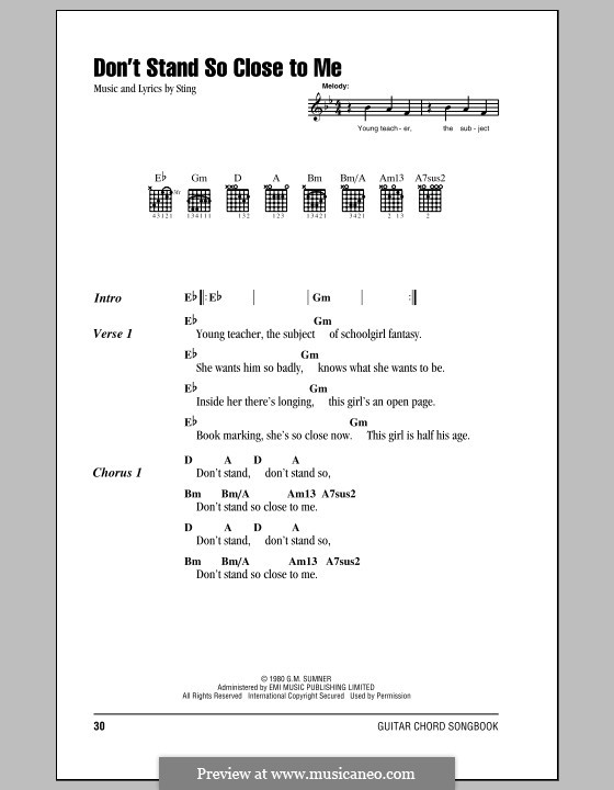 Don't Stand So Close to Me (The Police): Lyrics and chords (with chord boxes) by Sting