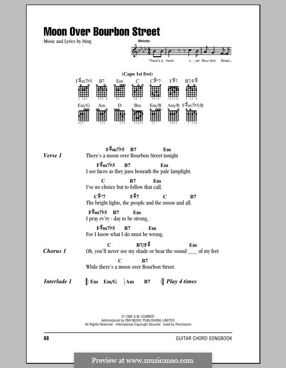 Moon Over Bourbon Street: Lyrics and chords (with chord boxes) by Sting