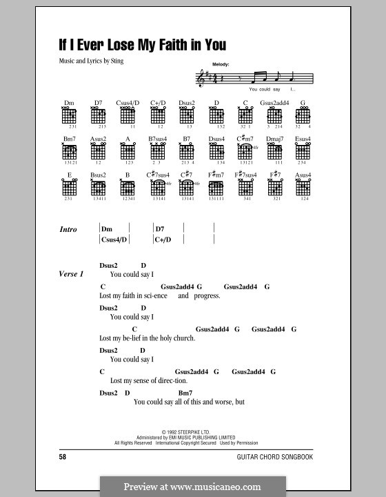 If I Ever Lose My Faith in You: Lyrics and chords (with chord boxes) by Sting