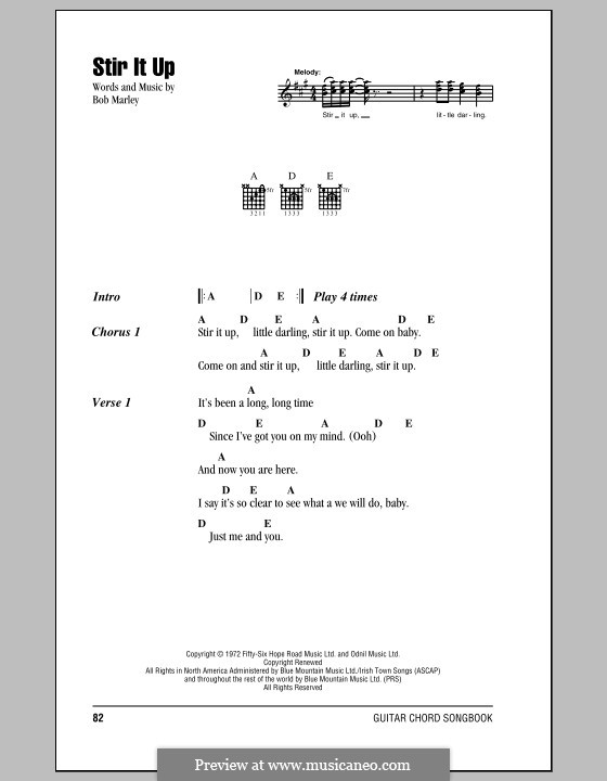 Stir It Up: Lyrics and chords (with chord boxes) by Bob Marley