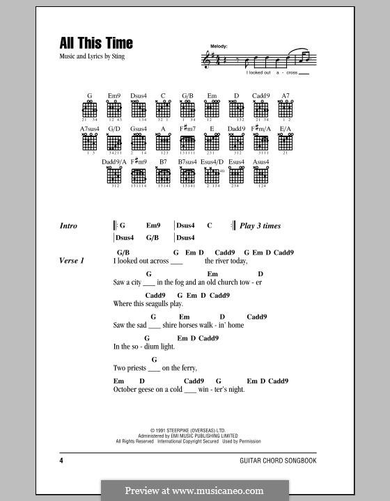 All This Time: Lyrics and chords (with chord boxes) by Sting
