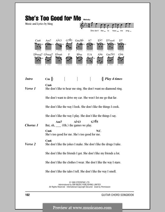 She\'s Too Good for Me by Sting - sheet music on MusicaNeo