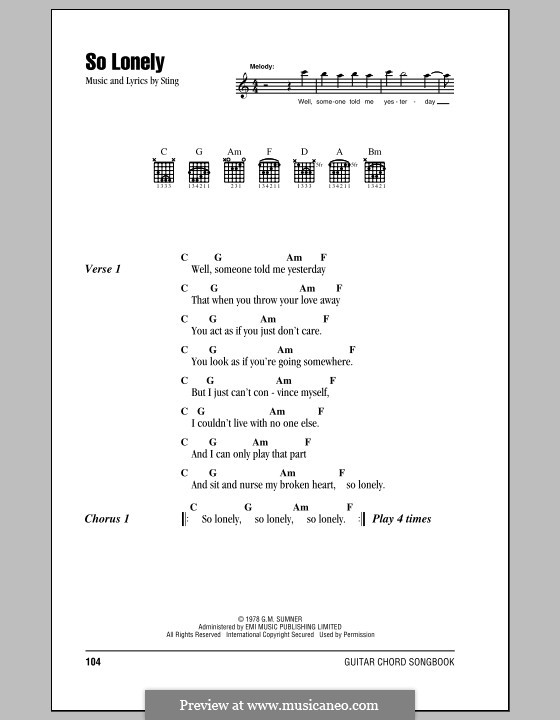 So Lonely The Police By Sting Sheet Music On Musicaneo