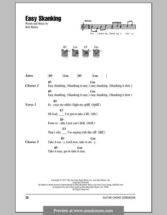 Easy Skanking: Lyrics and chords (with chord boxes) by Bob Marley