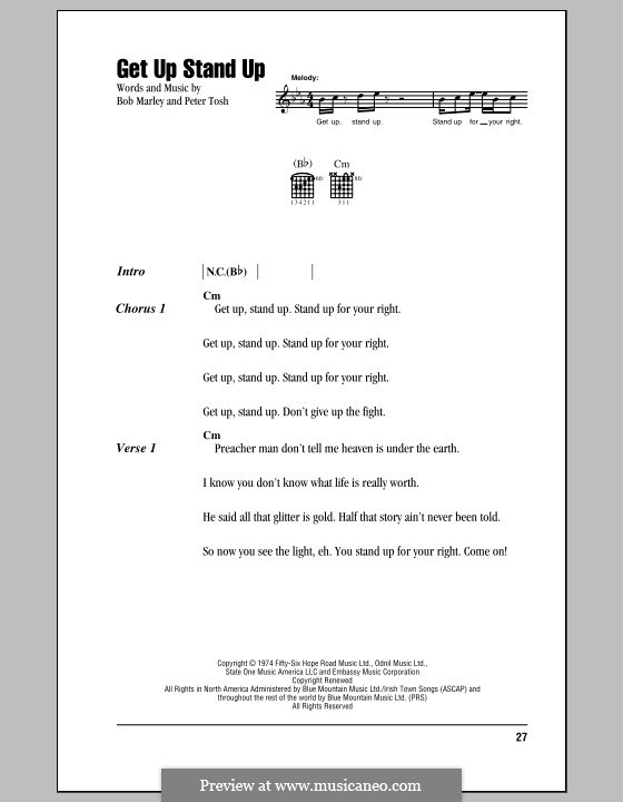 Get Up Stand Up: Lyrics and chords (with chord boxes) by Bob Marley, Peter Tosh