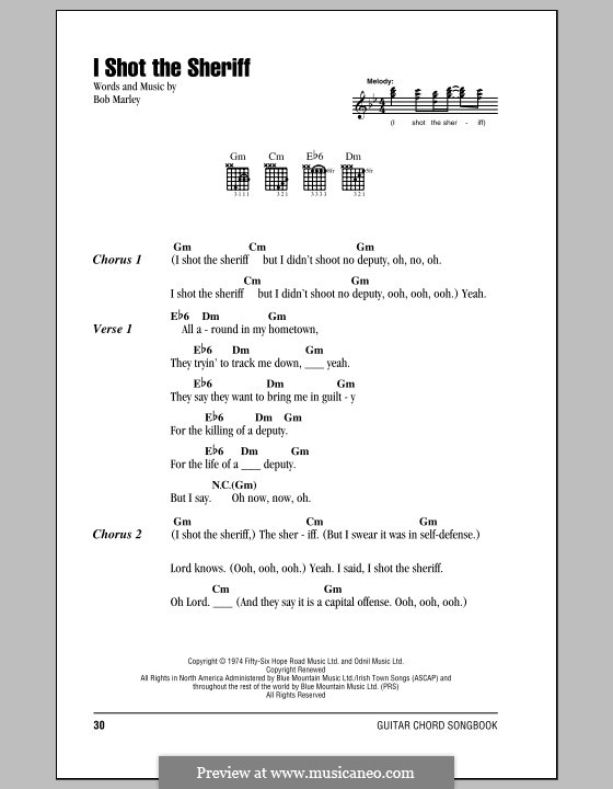 I Shot the Sheriff: Lyrics and chords (with chord boxes) by Bob Marley