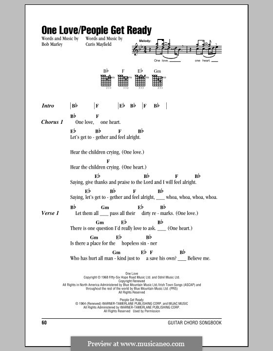 One Love By B Marley Sheet Music On Musicaneo