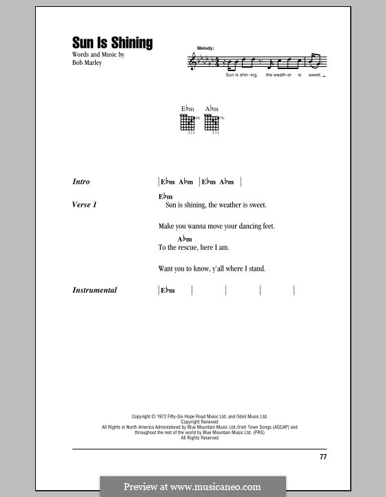 Sun Is Shining: Lyrics and chords (with chord boxes) by Bob Marley