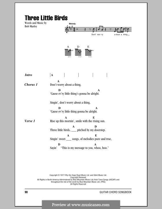 Three Little Birds: Lyrics and chords (with chord boxes) by Bob Marley
