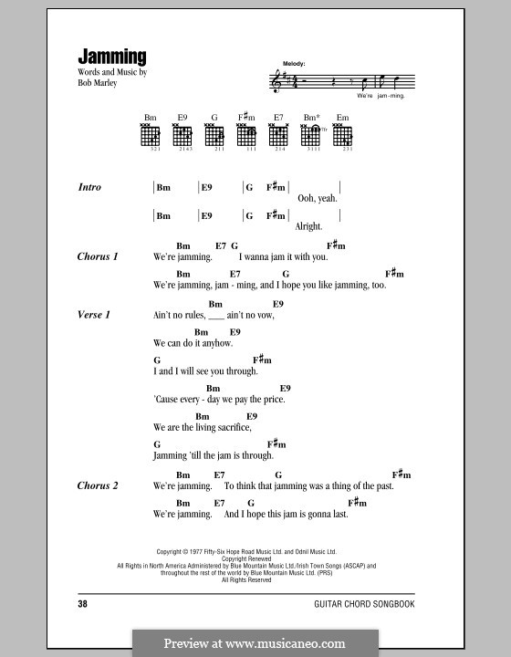 Jamming: Lyrics and chords (with chord boxes) by Bob Marley
